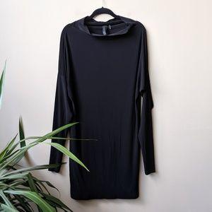 Norma Kamali Black Long Sleeve Dolman Sleeve Dress